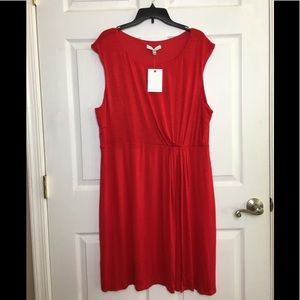 NWT 14Th Place Red Sleeveless Faux Wrap Dress